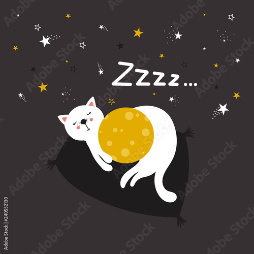 Hand drawn illustration with cat, moon, stars and lettering. Colorful cute background vector. Good night, poster design. Backdrop with english text, animal. Funny card, Zzzz
