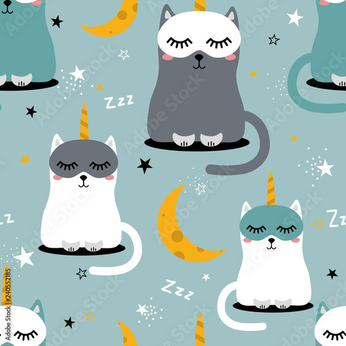 Cats are unicorns, stars, moon, hand drawn backdrop. Colorful seamless pattern with muzzles of animals. Decorative cute wallpaper, good for printing. Overlapping colored background vector