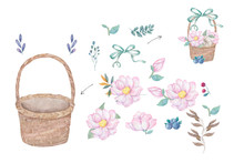 Watercolor Wooden Basket Of Flowers Hand Drawn Illustration Plate Basket Clip Art On White Background