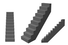 Stairway. Isolated On White Background. 3d Vector Illustration.