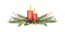 Watercolor Vector Christmas Wreath With Green Fir Branches And Candles.