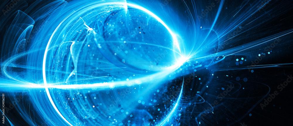 Fototapety, obrazy: Blue glowing interstellar technology in space