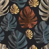 Multicolor monstera leaves seamless pattern black background - 240562714
