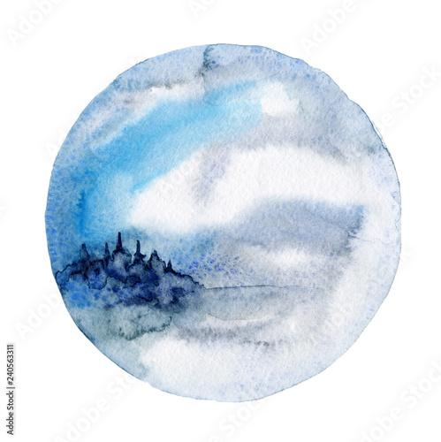 Cadres-photo bureau Aquarelle la Nature watercolor wall art, mystical landscape print, winter landscape, printable watercolor