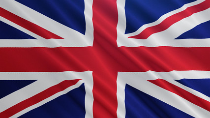 United Kingdom flag is waving 3D animation. Symbol of UK on fabric cloth 3D rendering in full perspective.