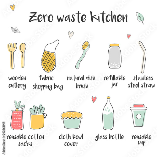 Big Set Of Icons For Zero Waste Kitchen Buy This Stock
