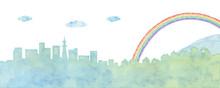 街並みと虹のイラスト