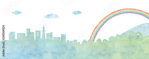Obraz na plátne  街並みと虹のイラスト