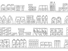 Shelves Graphic Seamless Pattern Black White Background Sketch Illustration Vector