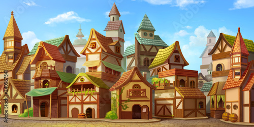 Small Fairy Tale Town. Fiction Backdrop. Concept Art. Realistic Illustration....