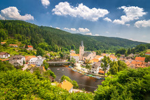 View Of The Rozmberk Nad Vltavou Town With A Rafting On Vltava River, Czech Republic, Europe.