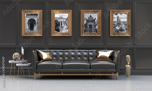 Fotografia, Obraz Luxury interior of a black and metallic gold living room with black and white photographies, side tables, sofa, cushions and ethnic sculptures