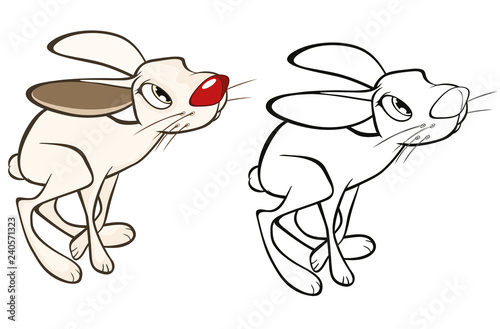 Deurstickers Babykamer Vector Illustration of a Cute Rabbit. Cartoon Character. Coloring Book