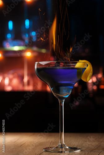 Burning blue cocktail