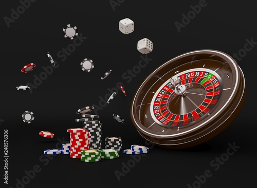Fototapeta Casino roulette wheel chips isolated on black. Casino game 3D chips. Online casino banner. Black realistic casino chip. Gambling concept, poker mobile app icon. Chips falling in the air. 3d Rendering. obraz
