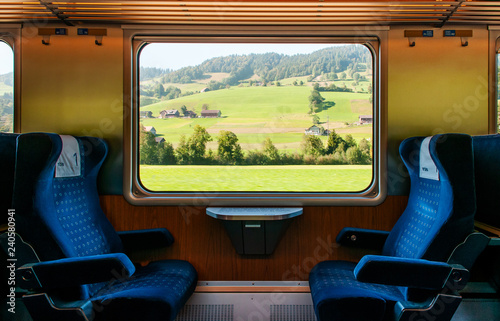 Montage in der Fensternische Schokobraun Swiss rural farmland through train window, Train travel concept.