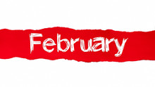 The Word February Appearing Behind Red Torn Paper