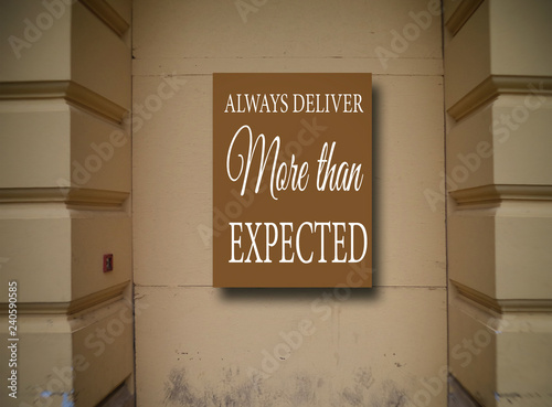 Photo  Motivation, poster, quote. Background of the building, detail.