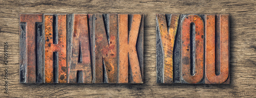 Photo Antique letterpress wood type printing blocks - Thank you