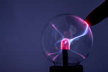 A Plasma Lamp With Pink Electr...