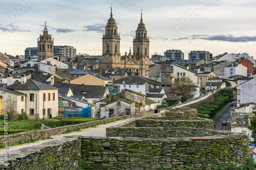View of the Cathedral and the Wall of Lugo declared World Heritage by Unesco (Galicia, Spain)