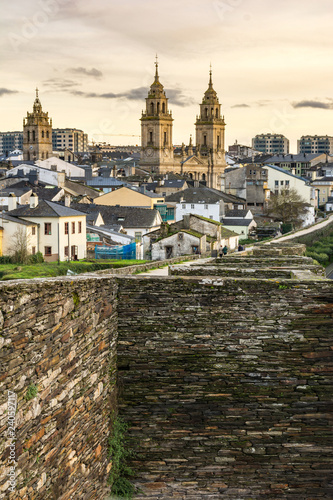 Fotografie, Obraz  View of the Cathedral and the Wall of Lugo declared World Heritage by Unesco (Ga