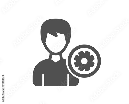 User settings icon  Profile Avatar with cogwheel sign  Male Person