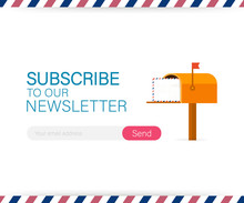 Email Subscribe, Online Newsletter Vector Template With Mailbox And Submit Button. Vector Illustration.
