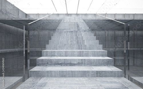 Spoed Foto op Canvas Trappen Abstract concrete interior multilevel public space with window. 3D illustration and rendering.