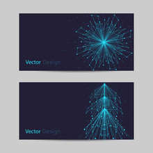 Set Of Horizontal Banners. Abstract Snowflake And Fir Tree Made Of Connected Lines And Dots