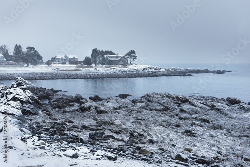 Tuinposter Turkoois Rocky coast of the Atlantic Ocean covered with snow. Gloomy Winter Atlantic Ocean. USA. Maine.