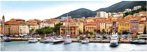 Photo Drawing the coast of Corsica, Ajaccio. Panorama