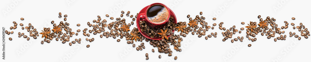 Red coffee cup and coffee beans and anise isolated on white background