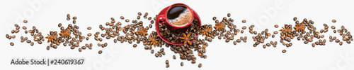 Photo sur Toile Salle de cafe Red coffee cup and coffee beans and anise isolated on white background