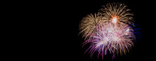 Real Fireworks, Long Exposure, Cropped And Close Up With Copy Space