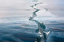 The Crack Of Ice On Lake Baika...