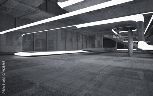 Fotografia  Empty dark abstract concrete smooth interior