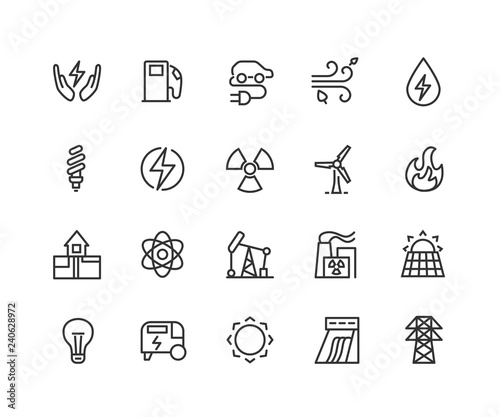 Photo Electric energy linear icons set