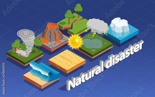 Natural Disaster Isometric Composition