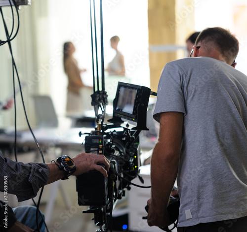 Fotografija Behind the scenes of the camera when shooting a film, advertisement, video, team, actors