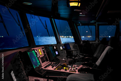 Pinturas sobre lienzo  Control panel of industrial cargo ship, closeup photo with selective focus and v