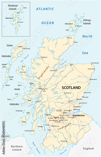 Road Map Of England And Scotland.High Detailed Scotland Road Map With Labeling Buy This Stock