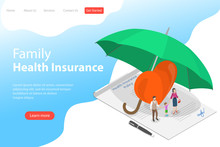 Isometric Flat Vector Landing Page Template Of Health Insurance Policy, Healthcare And Medical Service.