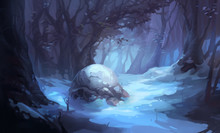 Winter Forest Dark Wood Moonlight Environment Concept