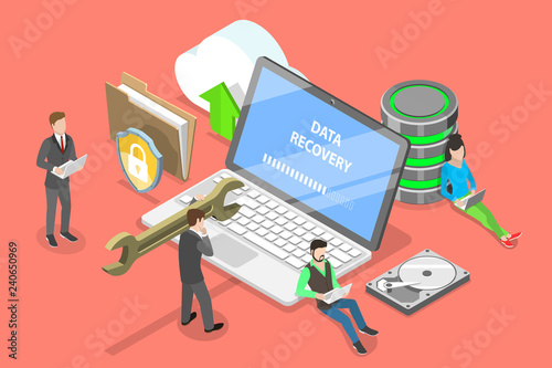Fototapeta Isometric flat vector concept of data recovery services, data backup and protection, hardware repair