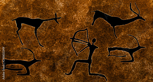 Photo image of ancient hunting on the cave wall