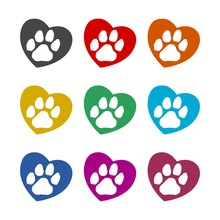 Silhouette Of A Paw Print With A Heart Symbol Icon Or Logo, Color Set