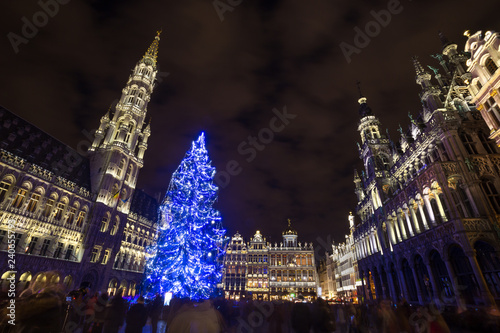 grote markt place on a christmas evening brussels belgium