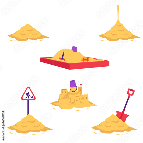 Sand heap vector illustration set - various piles of yellow dry powder using in building and repair works or for children games isolated on white background Wallpaper Mural