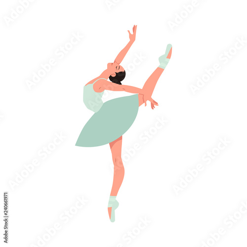 Tablou Canvas Vector elegant ballerina in green tutu dress, dancing on pointe shoes